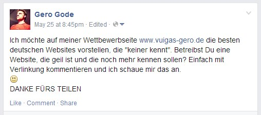 Facebook Post zu Vuigas
